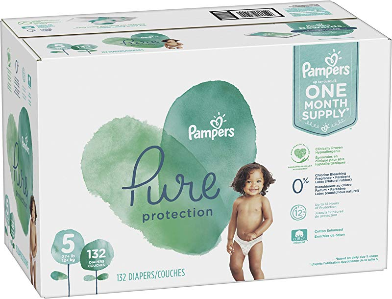 Diapers Size 5 132 Count Pampers Pure Disposable Baby Diapers Hypoallergenic And Unscented Protection ONE MONTH SUPPLY
