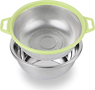 Colander BONOW Heavy Duty Kitchen Strainer Double Handle Draining Basket with Stainless Steel Basin 2PCS for Food Vegetable Rice Fruit Pasta - Green