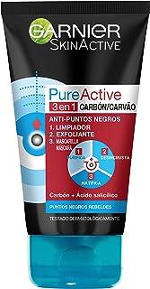 Garnier Skin Active - Pure Active, Gel Limpiador de Poros y Exfoliante Facial con Carbón 3 en 1, 150 ml