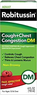 Robitussin Adult Cough + Chest Congestion DM (4 fl. oz. Bottle), Non-Drowsy, Cough Suppressant & Expectorant, Assorted