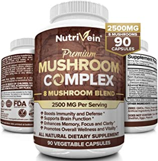 Nutrivein Mushroom Supplement 2500mg - 90 Capsules - 8 Organic Mushrooms - Lions Mane, Cordyceps, Chaga, Reishi, Turkey Ta...
