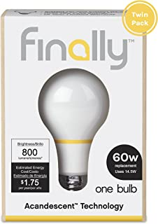 Finally Acandescent 60W A19 Replacement Light Bulb Warm White (2700K) - 2 Pack [並行輸入品]