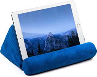 Ideas In Life Tablet Pillow for Galaxy and IPad, Plush Microfiber Mini Tablet Computer Holder Sofa Reading Stand, Self Standing or Use on Lap, Bed, Sofa, Couch. Color Blue