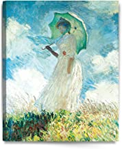 DECORARTS - Woman with a Parasol (Facing Left) 1886, Claude Monet Art Reproduction. Giclee Canvas Prints Wall Art for Home Decor 30x24