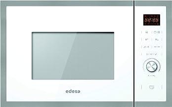 Edesa - Microondas de encastre, Modelo: EMW-2530-IG XWH, Microondas con grill, Capacidad de 25 L, 5 niveles de potencia, Acabado en cristal blanco