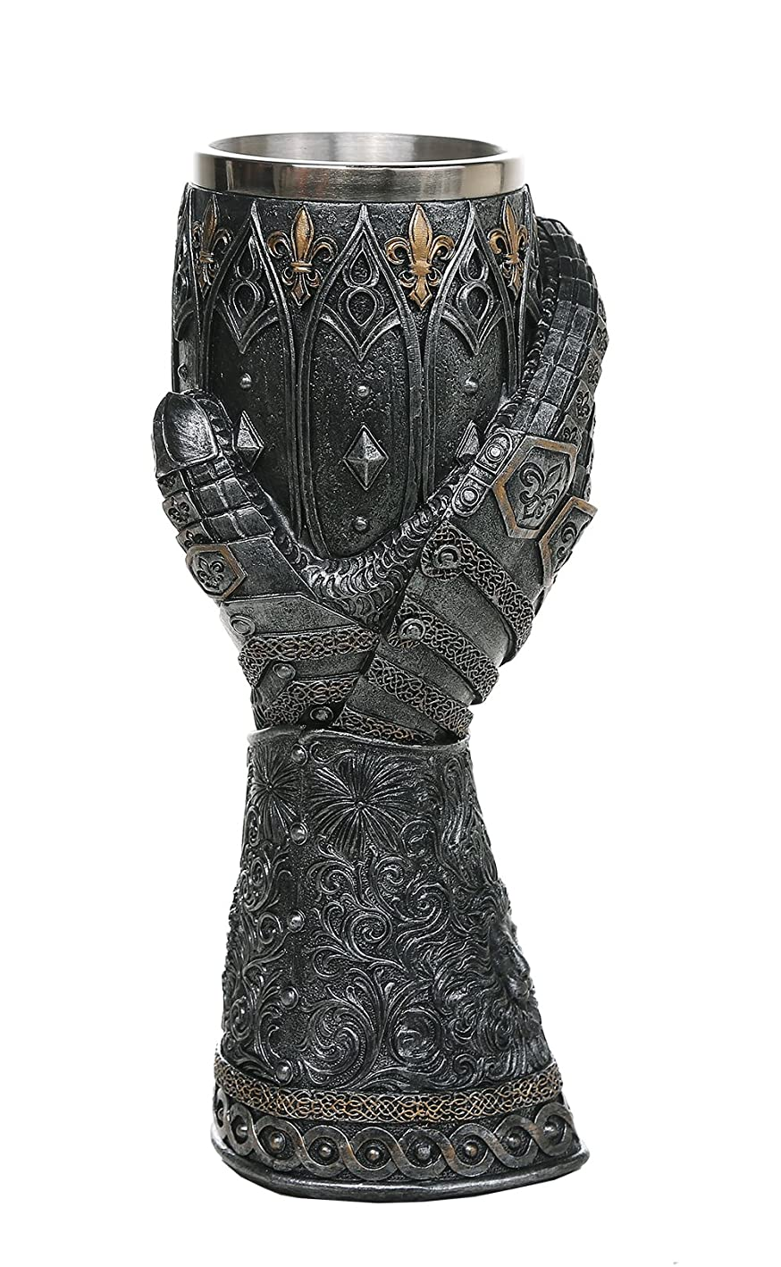 Pacific Giftware Medieval Knight Lions Heart Gauntlet Style Wine Goblet 9