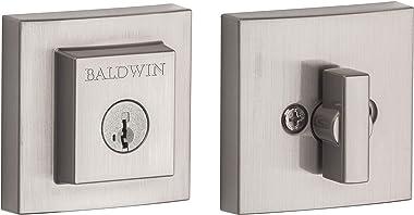 Baldwin Spyglass Single Cylinder Square Deadbolt for Front Door and Garage Door Featuring SmartKey Security in Satin Nickel,