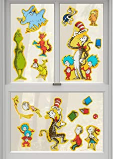 Dr. Seuss Themed Window Clings Decorations - 18 Pieces