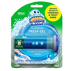 Scrubbing Bubbles Fresh Gel Toilet Cleaning Stamp, Rainshower, Dispenser with 6 Stamps