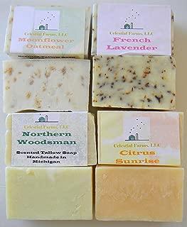 4 pack Tallow soap sampler; Northern Woodsman, Citrus Sunrise, Moonflower Oatmeal, French Lavender, 4-4oz bars