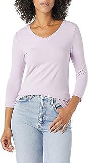 Amazon Essentials T- Shirt à col en V, Manches 3/4, Coupe Classique Femme