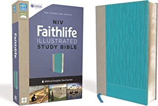 NIV, Faithlife Illustrated Study Bible, Leathersoft, Gray/Blue: Biblical Insights You Can See
