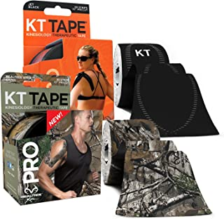 KT Tape PRO Synthetic Elastic Kinesiology 20 Pre-Cut 10-Inch Strips Latex Free, Water Resistance, Pro & Olympic (2-Pack)