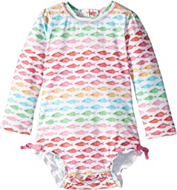 Watercolor Fishies Rashguard Swimsuit (Infant)