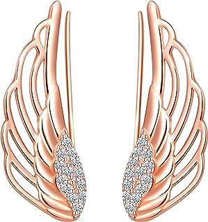 Pendientes de plata de ley 925 para mujer, clip de oreja de ala de ángel, decorado con circonita cúbica, pendientes de escalada, regalo para aniversario