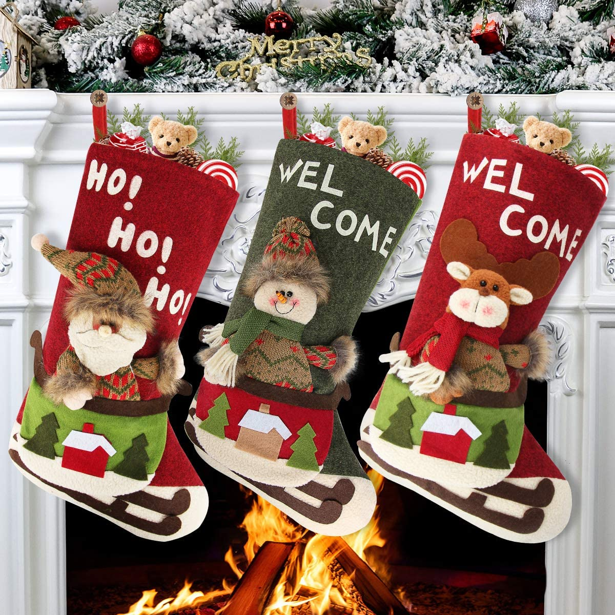 Aiduy 3 Pack Christmas Stockings Ranking TOP9 Xmas Complete Free Shipping Fireplace Stoc Hanging Set