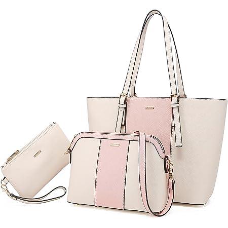 LOVEVOOK Handtasche Damen Schultertasche Handtaschen Tragetasche Damen Groß Designer Elegant Umhängetasche Henkeltasche Set 3-teiliges Set (Beige Rose-verticale)