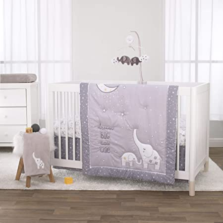 Little Love By Nojo Dream Big Little Elephant Grey White And Gold 3 Piece Crib Bedding Set Comforter Fitted Crib Sheet Dust Ruffle Baby
