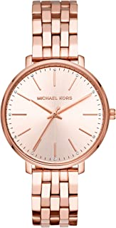 white and rose gold mk watch