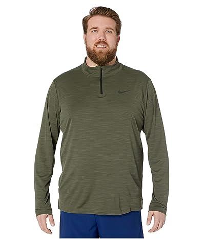 Nike Big Tall Superset Top Long Sleeve 1/4 Zip (Cargo Khaki/Black) Men