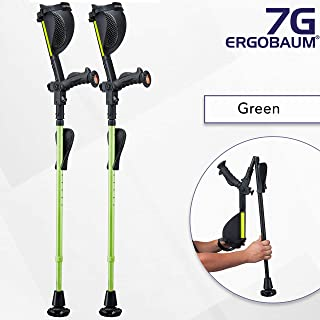 Ergobaum® 7TH Generation Prime By Ergoactives. 1 Pair (2 Units) of Ergonomic Forearm Crutches - Adult 5' - 6'6'' Adjustable (Green)