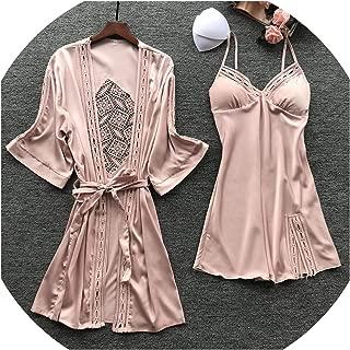 New Sexy Fashion Pajamas Woman Robe Set Ice Silk Long Sleeve Pijama 2 Pcs Hollow Desigen with Chest Pad Sleepwear