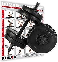 POWRX Dumbbellset van 2 x 20kg/30kg/40kg I Halter set met gekartelde en veilige staven met stersloten I dumbbell gewichten...
