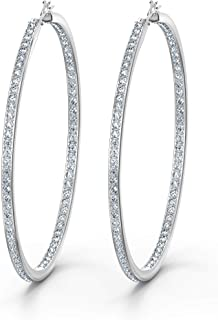 Swarovski Women's Rare Collection Hoop Pierced Earrings, Set of Brilliant White Swarovski Crystal Hoop Earrings with Rhodi...