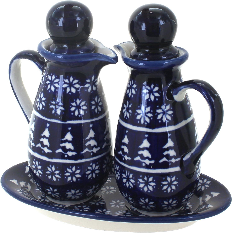 SALENEW very popular Blue Rose Excellence Polish Pottery Winter Oil Vinegar Nights Set