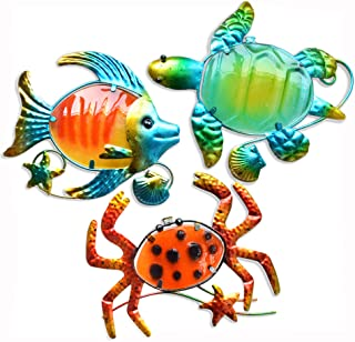 GIFTME 5 Metal Beach Wall Art Decor Set of 3 Metal Sea Turtle Fish and Crab with Stained..