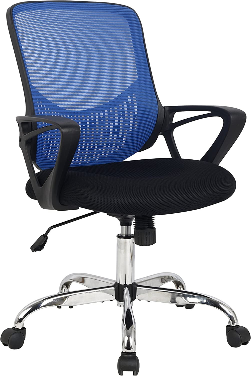 Hodedah Mid Back Mesh Office Chair with Adjustable Height, bluee
