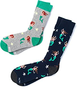"""His & Hers """"Mermaids Are Real"""" Nautical Novelty Crew Carded Cotton Socks (2 Pairs)"""
