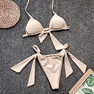 Women's Swimwear Solid Color Split Simple Triangle Bikini Suitable for Swimming Pool/Spa/Water Park Etc,Beige (L)