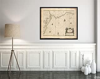1672 Map Central America Pascaerte Van Nova Hispania, Chili, Peru, en Guatimala Nautical Chart showi|Historic Antique Vintage Reprint|Ready to Frame