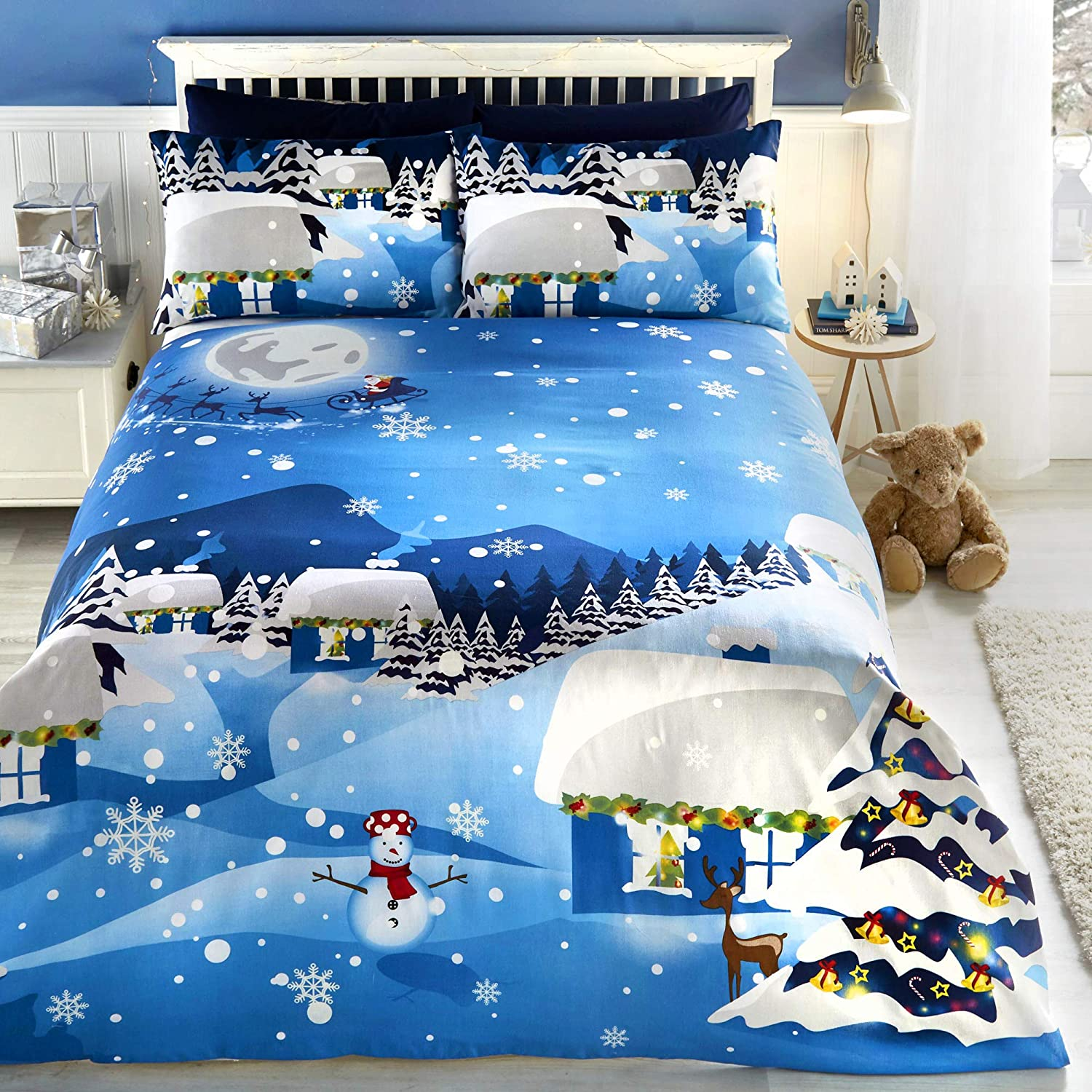 Bedlam Christmas Glow In The Dark Easy Care Duvet Cover Set Single Bed Size Multicolour Bedding Amazon Co Uk Kitchen Home