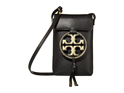 Tory Burch Miller Metal Phone Crossbody (Black) Handbags