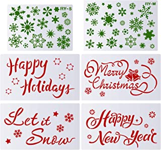 6 Pieces Christmas Stencils Templates Christmas Drawing Templates Hollow Out Painting Stencils with Snowflakes Happy New Year Merry Christmas Happy Holiday Let it Snow Pattern for DIY Craft
