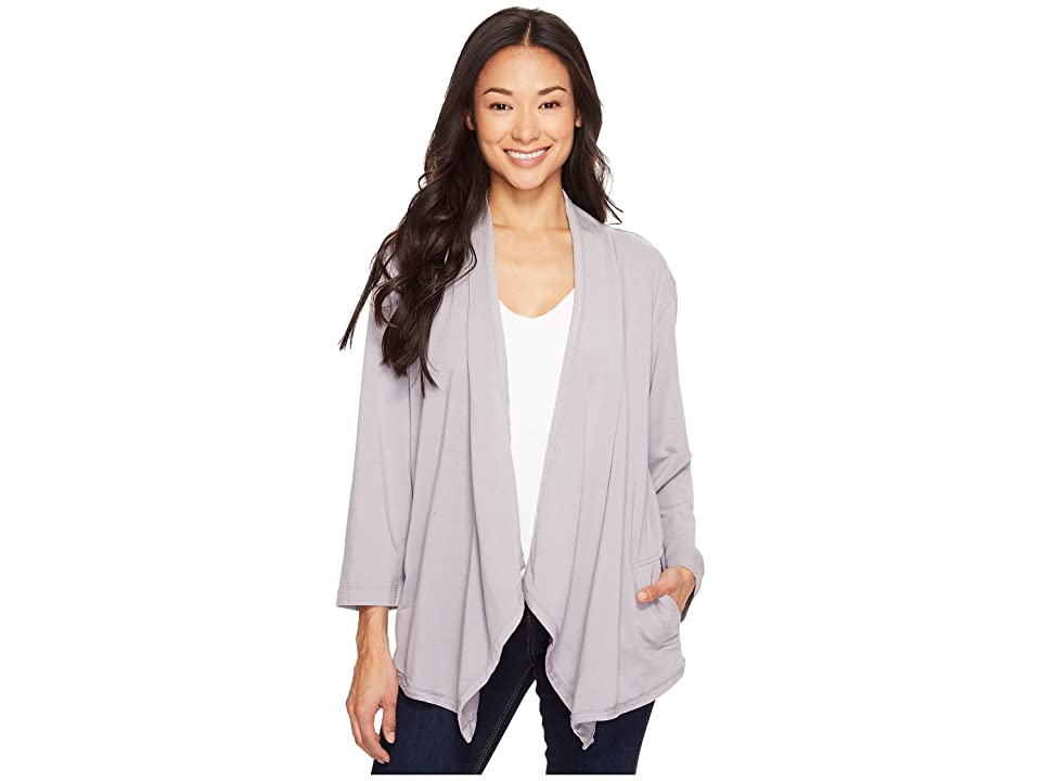 Mod-o-doc Cotton Modal Spandex French Terry Open Front Cardigan (Silver) Women's Sweater