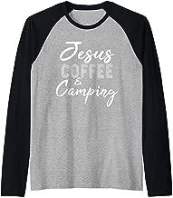 Jesus Coffee and Camping Funny Christian Saying Quote Raglan Baseball Tee