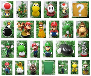 Christmas Ornament Super Mario Brothers 25 Piece Deluxe Set Featuring Random Mario and Friends Characters - Unique Shatterproof Plastic Design