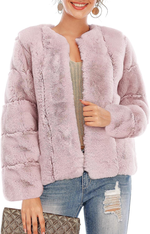 BerryGo Women's Long Sleeve Open Front Fuzzy Faux Fur Coat