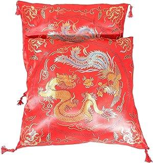 """Par de Oriental Chino Seda fundas de cojín 16""""x 16"""" rojo diseño de dragón"""