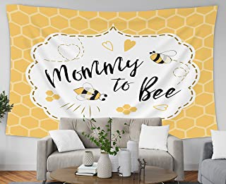 GROOTEY Hanging Wall Tapestry, Tapestry 80x60Inches Shower Invitation Template with Text Mommy to Bee Honey Cute Card Design for Girls Boys Bees Tapestries Wall Art for Home Bedroom Dorm Decoration
