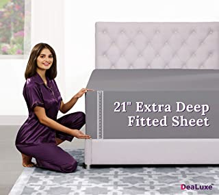 """Deep Pocket Queen Fitted Sheet – 17"""" - 21"""" Inch + Extra Deep Pocket Fitted Sheet Only - 1 Fitted Bed Sheet with Deep Pockets for Pillow Top Mattress Soft Queen Size Fitted Sheets Grey"""