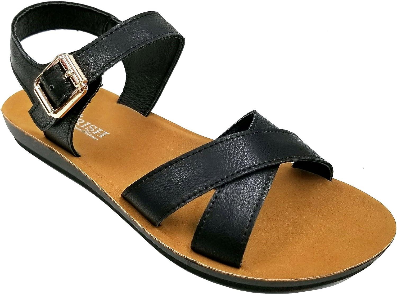Women's Criss Cross Strappy Open Toe Ankle Strap Flat Sandals CH8