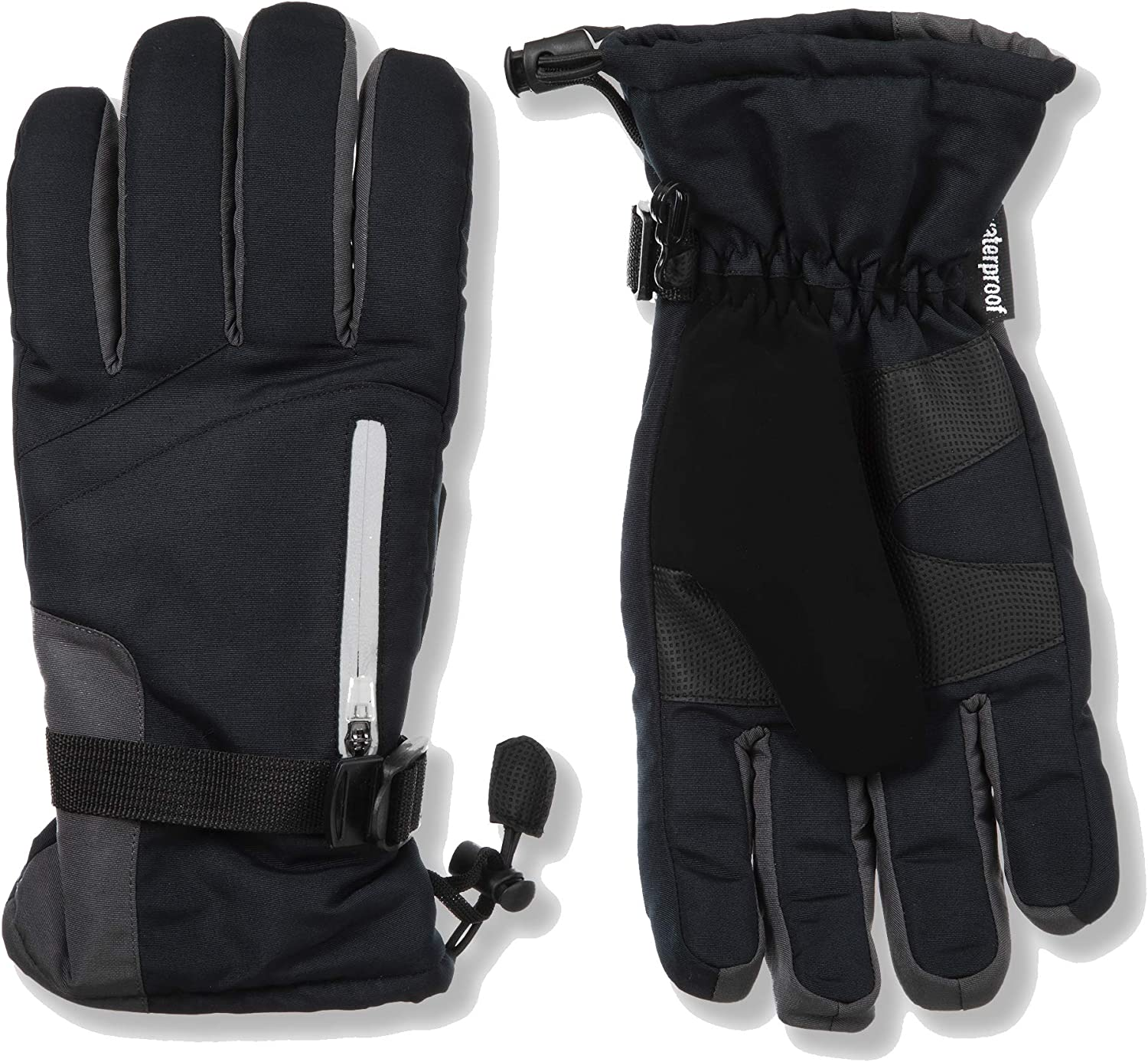 C9 Champion Men's Adjustable Windproof Waterproof Snowboarding And Ski Glove With Reflective, Nose Wipe, and Zippered Pockets