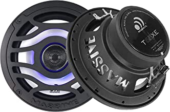 T65XE - Massive Audio 6.5 Inch 80 Watts RMS / 320 Watts Peak, Marine Coaxial Speakers for Boats, UTVS, Off Road, Gold Carts, Motorcycles, Runabouts with Multi Color RGB LED Pulse Lighting