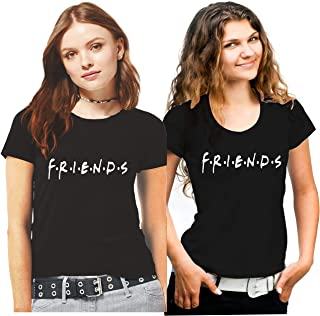 Hangout Hub Family-Friends- Women's Cotton Printed Regular Fit T-Shirts (Pack of 2) Friends