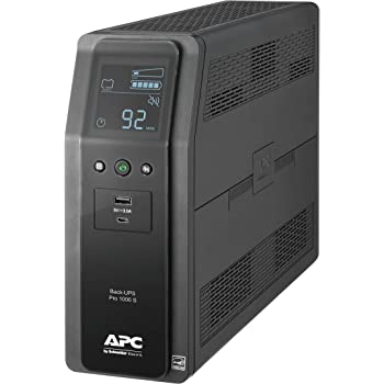APC UPS, 1000VA Sine Wave UPS Battery Backup & Surge Protector, BR1000MS Backup Battery with AVR, (2) USB Charger Ports, Back-UPS PRO Uninterruptible Power Supply