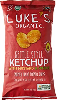 Luke's Organic Kettle Style Ketchup with Mustard and Pickle Potato Chips, 113g